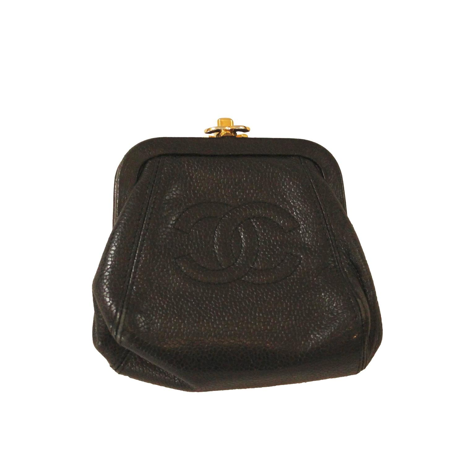 Chanel Black Leather Coin Purse at 1stdibs