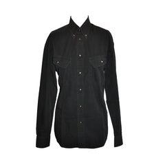 Thierry Mugler Men's Black Cotton Snap Accent Shirt