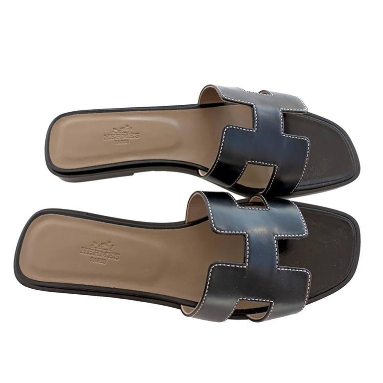 e27ec0fde3ff6b Hermes Oran Black Box Leather Sandals White Stitching Size 40 or 3.9 ...