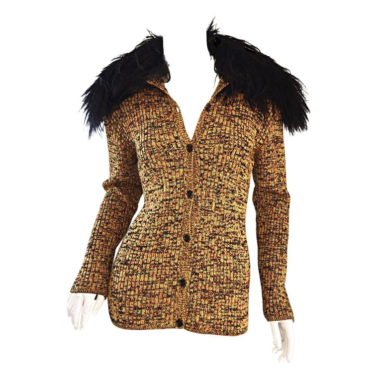 Incredible Vintage Yves Saint Laurent Fourrures Mongolian Fur Sweater Cardigan