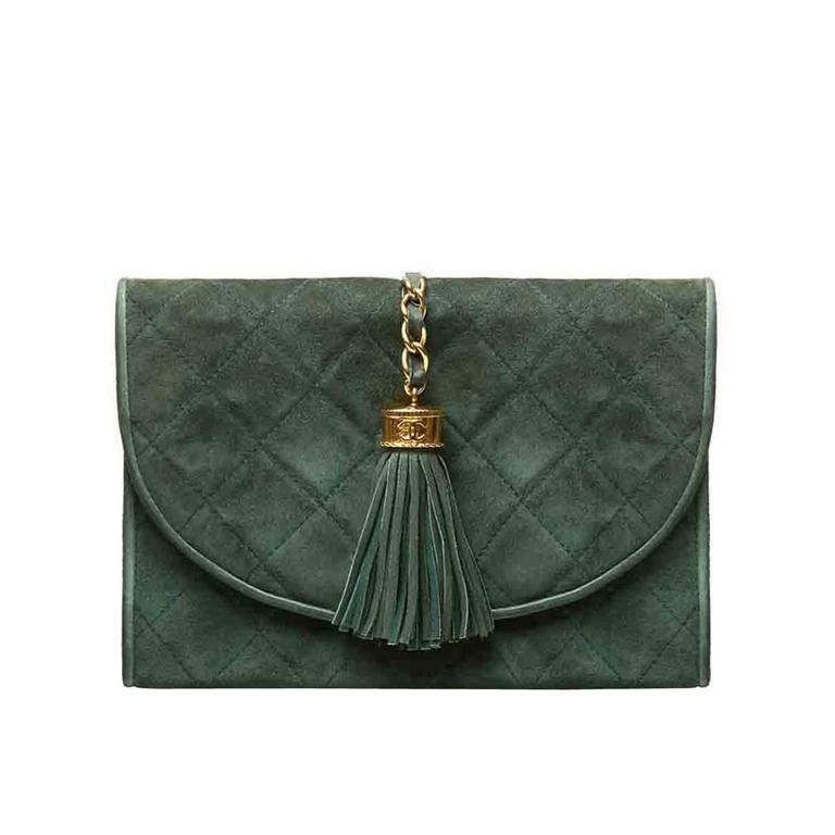 Chanel Green Suede Tassel Clutch 1