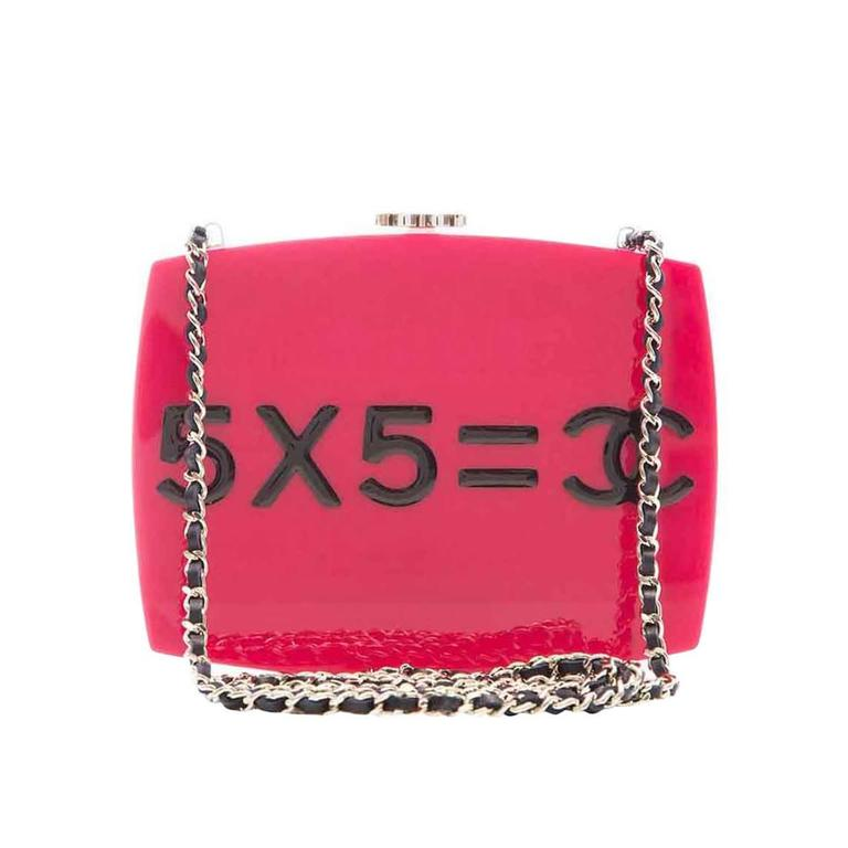 Chanel Pink Plexiglass Equation Bag For Sale
