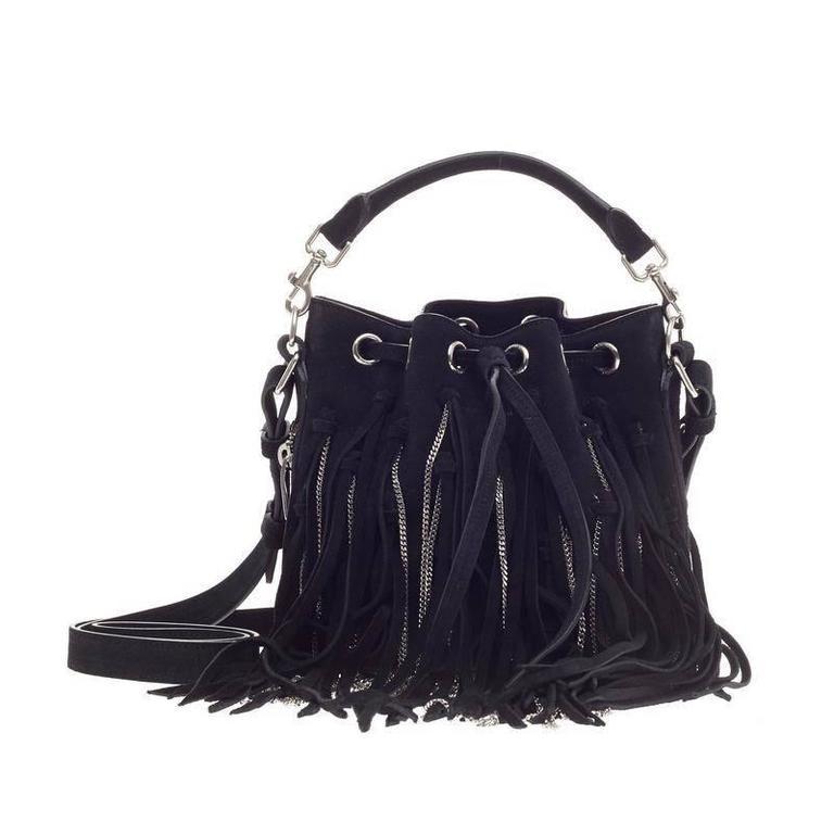 ca7d920e3f Saint Laurent Emmanuelle Bucket Bag Chain Fringe Suede Small at 1stdibs