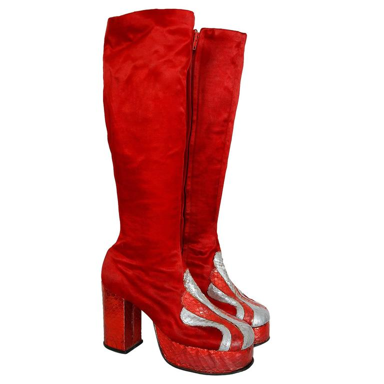 1970's Ruby-Red Satin & Silver Snakeskin Glam-Rock Platform Knee-High Boots  1