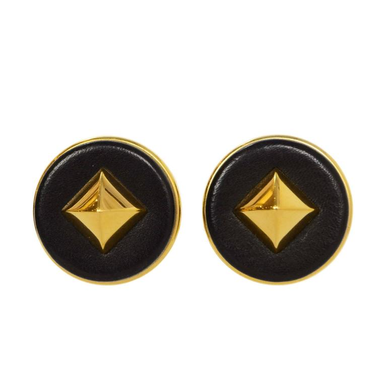 Hermes Black Leather & Gold Medor Clip On Earrings 1