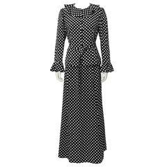 1970's Yves Saint Laurent YSL Polka Dot Skirt Set
