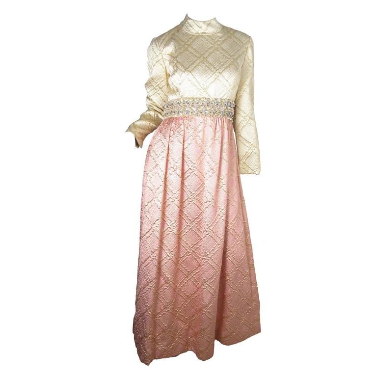 1960s Ceil Chapman Beaded Evening Gown 1