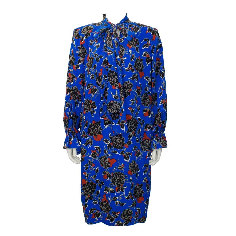 1980's Yves Saint Laurent YSL Jacquard Silk Print Dress For Sale