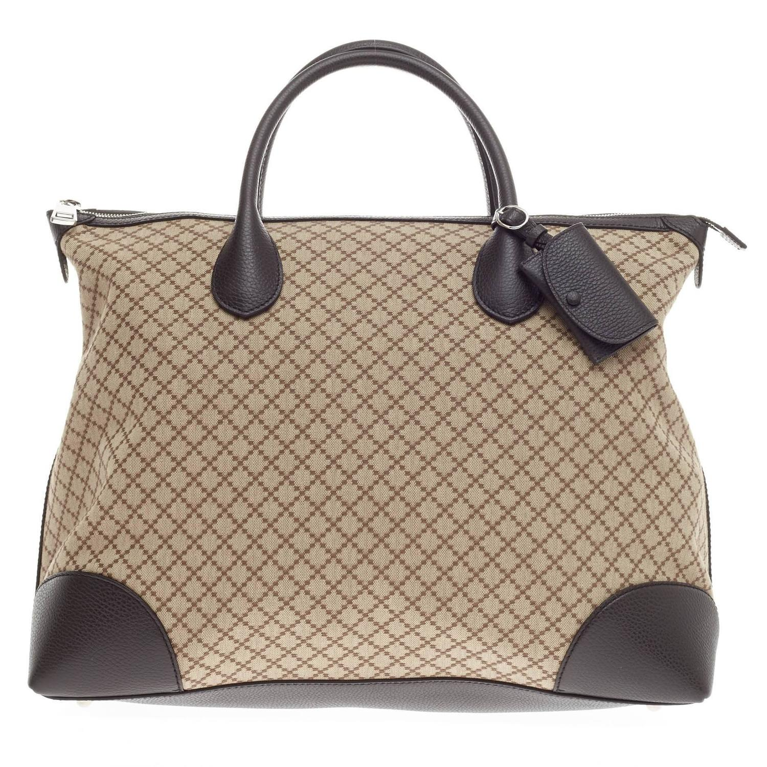 dc891e0e3f2b Gucci Weekender Zip Tote Diamante Canvas Large at 1stdibs