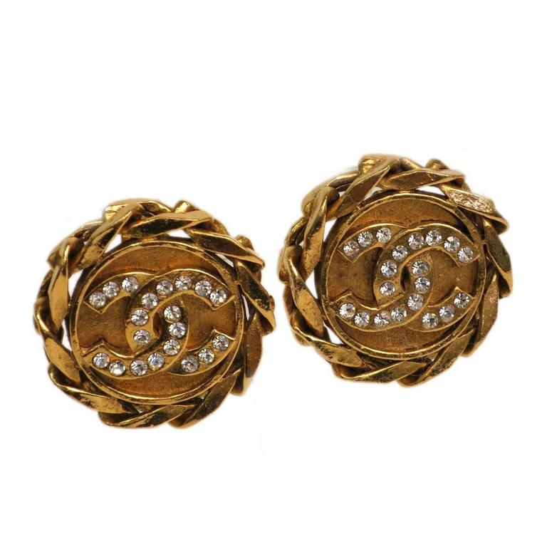 Classic chanel cc earrings : Chanel vintage gold and rhinestone cc earrings at stdibs