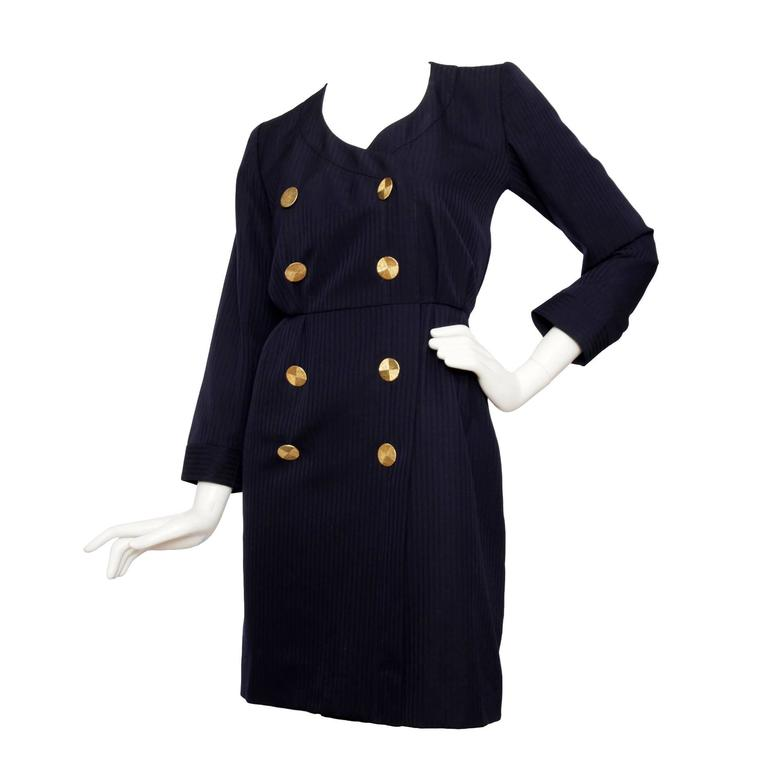 1980s Yves Saint Laurent Rive Gauche Navy Dress