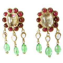 Vintage Gripoix Poured Glass Classic  Dangling Earrings
