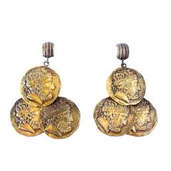 """Vintage Signed """"Joseff"""" Coin Dangling Earrings"""