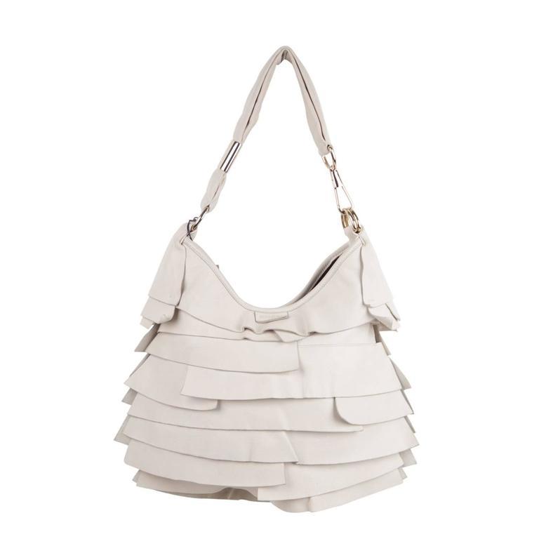 06687e0fef YVES SAINT LAURENT Ivory Leather St TROPEZ BAG Ruffle Hobo SHOULDER BAG For  Sale
