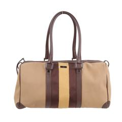 Gucci Italian Tan Canvas Boston Bag Handbag Tote with Brown and Yellow Stripes
