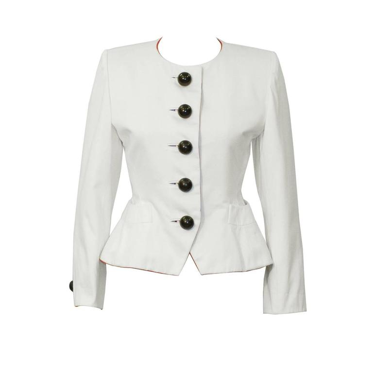 1980's Yves Saint Laurent YSL White Jacket with Dome Buttons