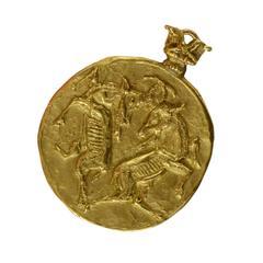 Vintage Hammered Gold Taurus Pendant