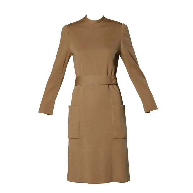 Norman Norell 1960s Vintage Camel Silk + Wool Knit Dress with Belt 1