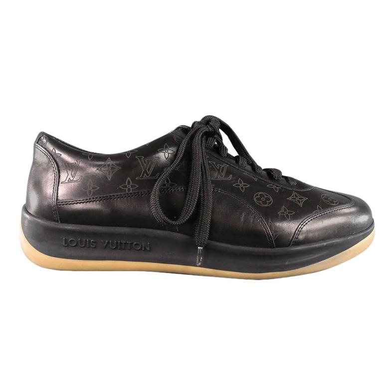 929314662f3b Men s LOUIS VUITTON Size 7.5US Black Leather Monogram Thick Sole Sneaker  For Sale