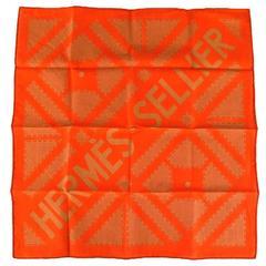 HERMES Orange Sellier Print Cotton Pocket Square