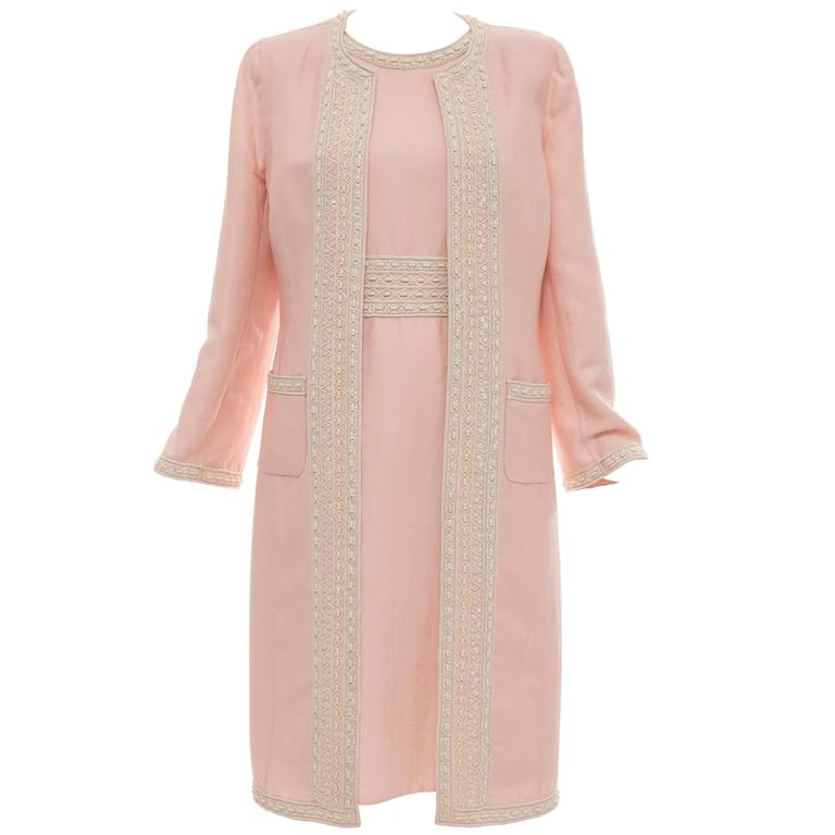 Oscar De la Renta Pink Wool Linen Cotton Embroidered Dress Ensemble, Resort 2006