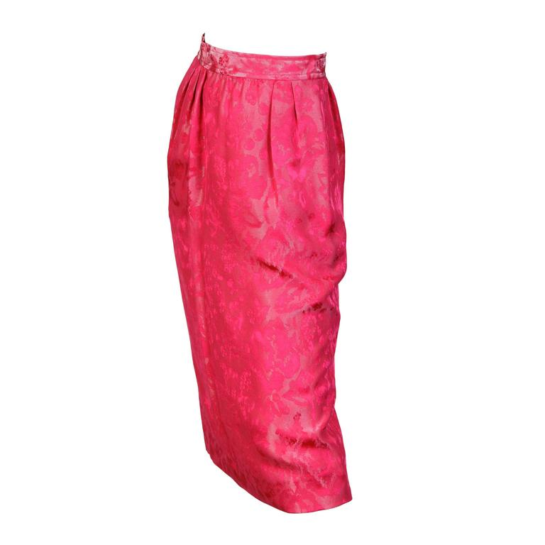 Fuchsia Silk Skirt from Lanvin For Sale