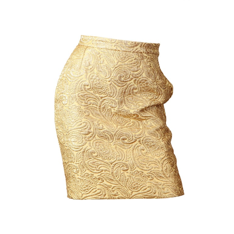 Yves Saint Laurent YSL Gold Lamé Skirt For Sale