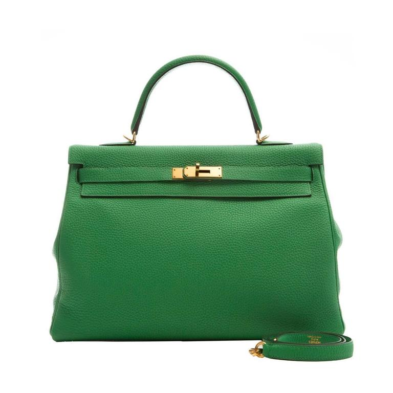 Hermes Kelly Bamboo Green Bag 35cm 1
