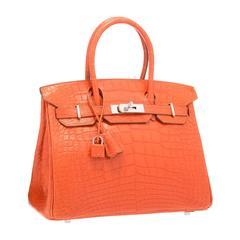 Hermes 30cm Matte Sanguine Alligator Birkin Bag with Palladium Hardware