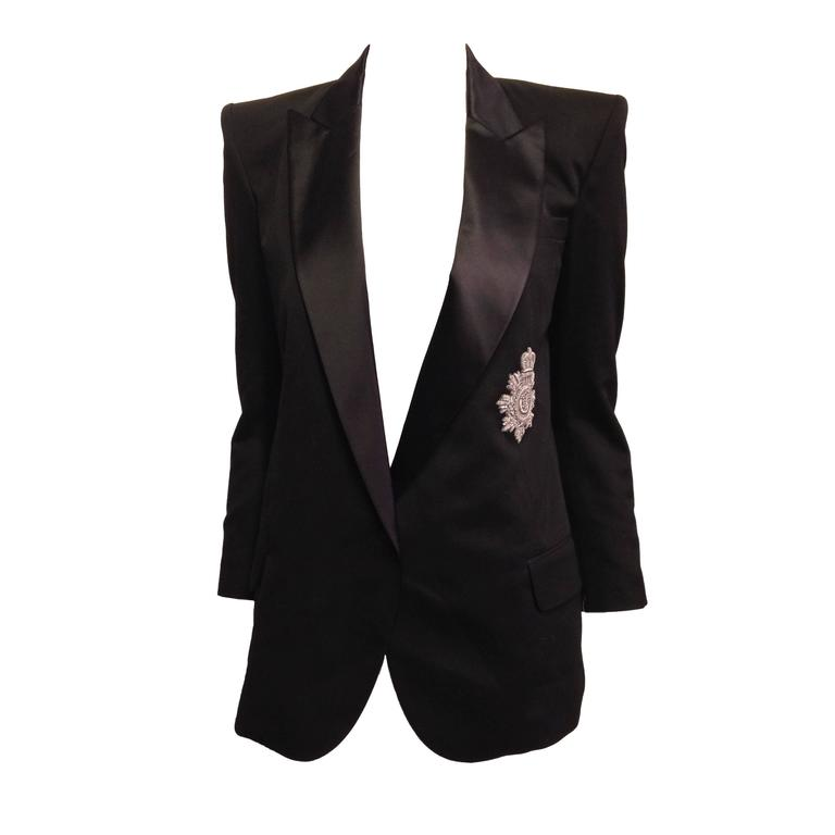 Balmain Black Tuxedo Jacket with Silver Crest Size 36 (4) 1