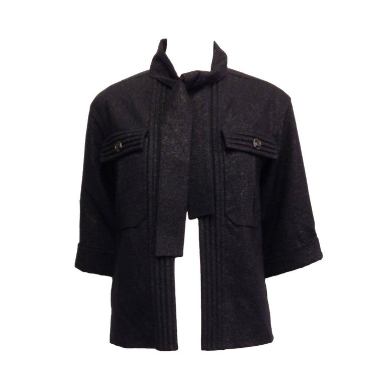 Chanel Navy Sparkly Jacket Size 34 2 For Sale At 1stdibs