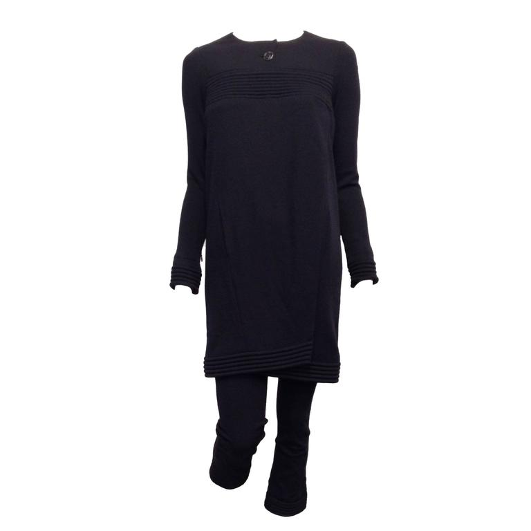 Chanel Navy Jersey Knit Tunic and Pant Size 34 (2)