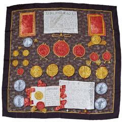 Rare Barry Kieselstein Cord Roman Coin N. 3 Silk Scarf