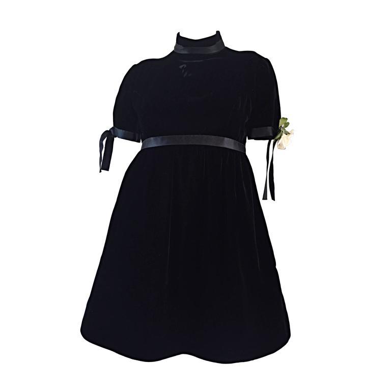 1960s Geoffrey Beene Vintage Black Velvet Empire Waist Trapeze Dress w/ Corsage 1