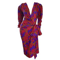 "Incredible Vintage Yves Saint Laurent "" Rive Gauche "" Leopard Silk Wrap Dress"