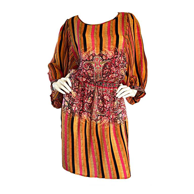 Matthew Williamson Colorful Ethnic Beaded Tunic Dress w/ Billow Sleeves