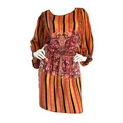 Matthew Williamson Colorful Ethnic Beaded Tunic Dress w/ Billow Sleeves