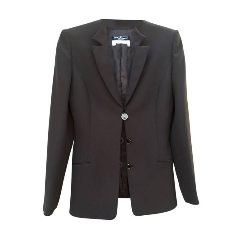 Salvatore Ferragamo Chocolate Brown Button Up Jacket