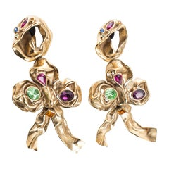 Yves Saint Laurent Massive Gilt Leaf Earrings With Faceted Stones, Circa 1980's