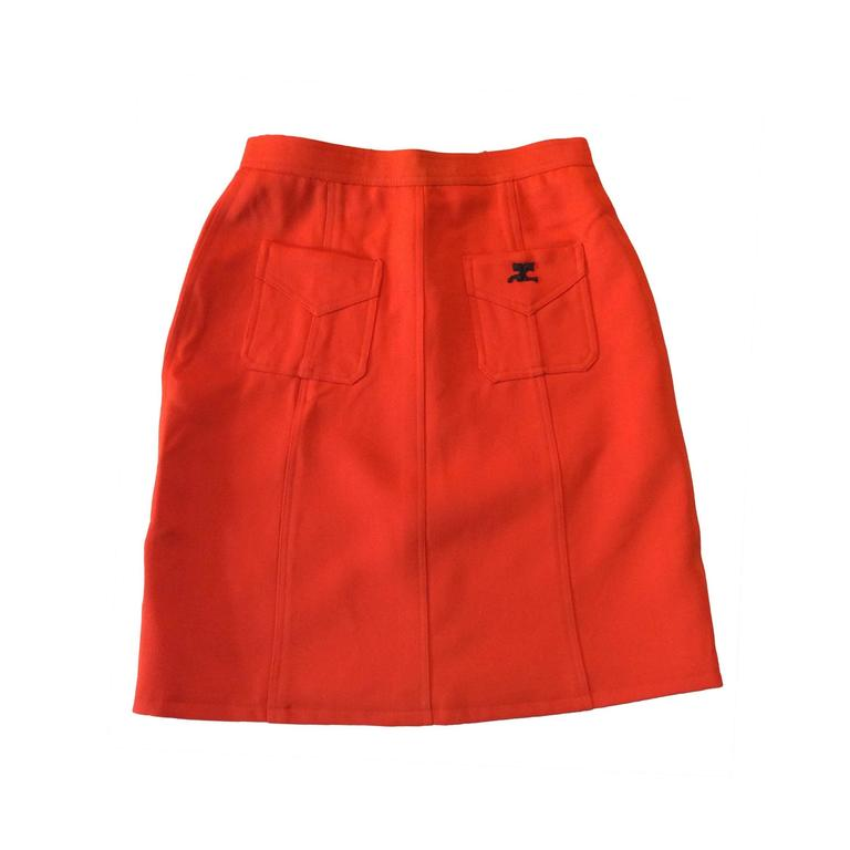 Vintage Courreges Orange Wool Gaberdine Skirt