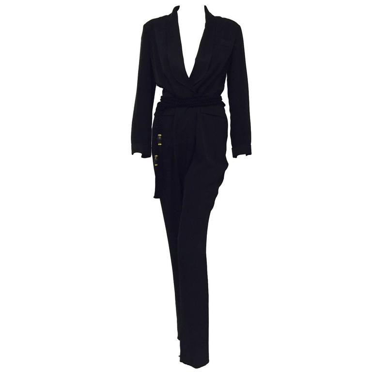 Gucci Black Silk Tuxedo Jumpsuit With Rope Belt and Bamboo Tassels 1