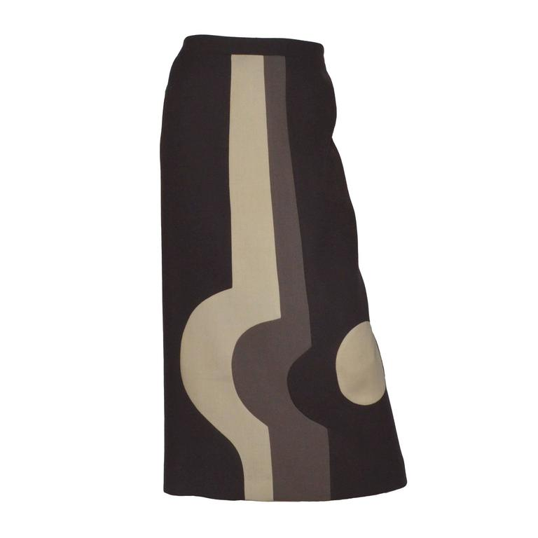 Pierre Cardin 1970's Color Block Vintage Maxi Skirt