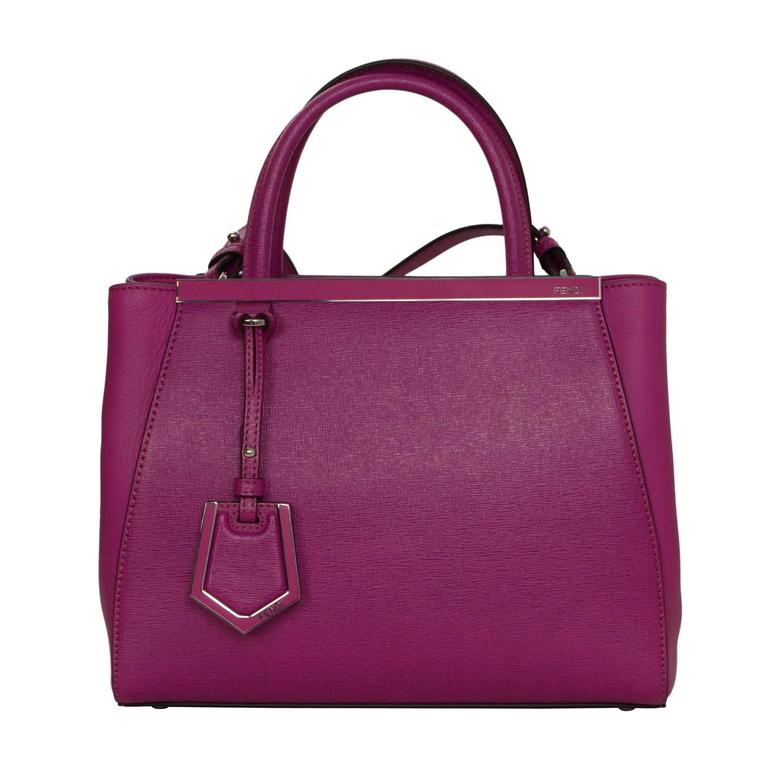 Fendi Magenta Pink 2Jours Petite Saffiano Shopper Tote Bag For Sale