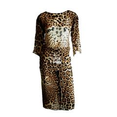 Gorgeous Tom Ford For YSL Rive Gauche SS 2002 Safari Collection Silk Skirt Suit!