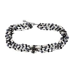 Chanel CC Black Silver Pearl Bead Gripoix Chain Waist Belt