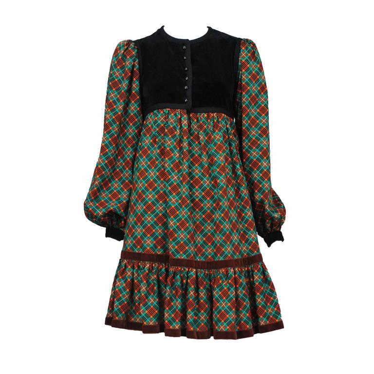 Yves Saint Laurent Green Plaid Peasant Dress  1