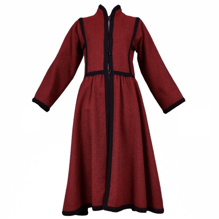 Yves Saint Laurent Red Wool Toggle Coat  For Sale