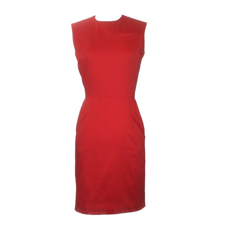 Stephen Sprouse Vintage 1990s Red Slash Pocket Sleeveless Pencil Dress For Sale