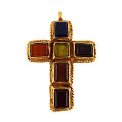 Christian Lacroix Vintage Massive Pate de Verre Cross Brooch Pendant