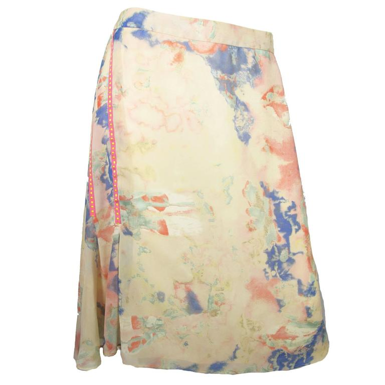 Christian Lacroix Silk Pastel Watercolor Skirt For Sale